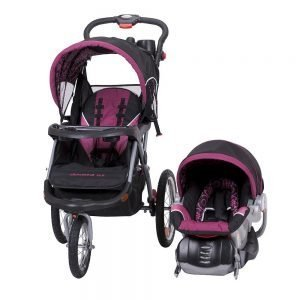 pink jogging stroller and car seat